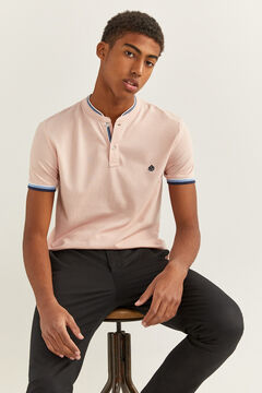 Springfield Slim mandarin collar polo shirt tipping red