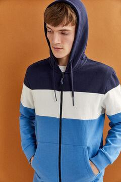 Springfield Sweat-shirt capuche color block blau