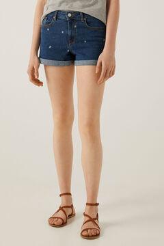 Springfield Short jean fleurs brodées blau