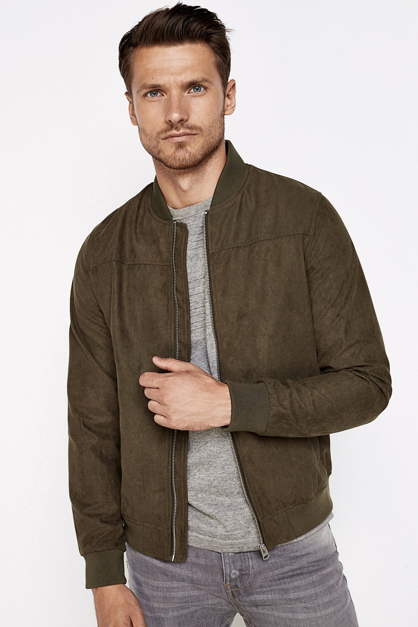 FAUX SUEDE BOMBER JACKET | Bombers | Springfield Man & Woman