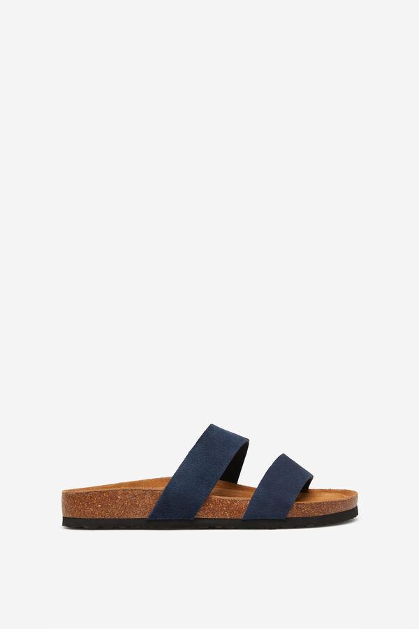 6e5d8b523c29 Springfield Bio sandals in cork and split leather blue