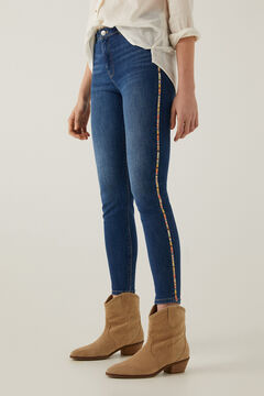 Springfield Jeans slim cropped bordado lateral azul