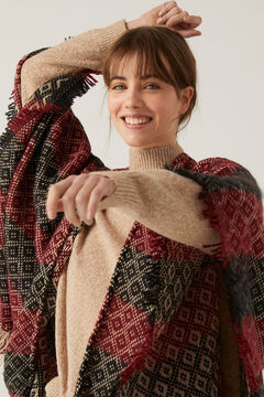 Springfield Jacquard Poncho red