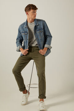 Springfield Slim fit washed 5-pocket coloured trousers grey