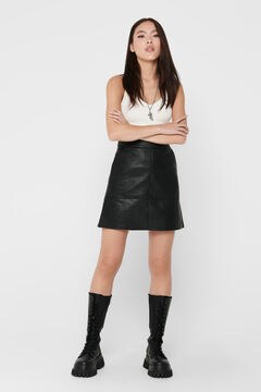 Springfield Leather effect skirt with back zip noir