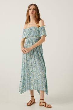 Springfield Vestido midi estampado paisley azul