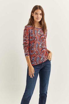 Springfield T-shirt ourlet lace imprimé rouge