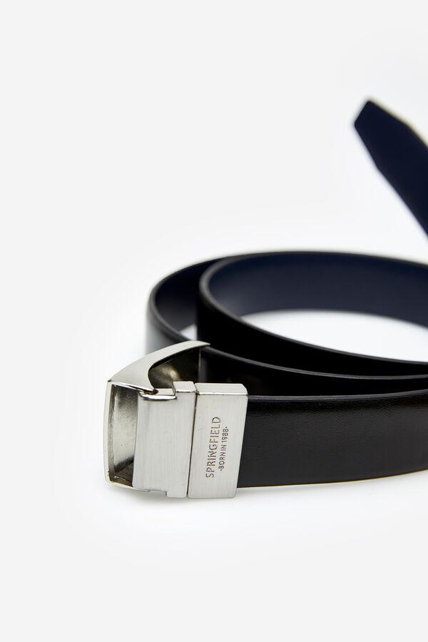 81ee2f881ea Springfield Cinturon piel sintética reversible chapón negro