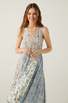 Springfield Paisley patchwork midi dress grey
