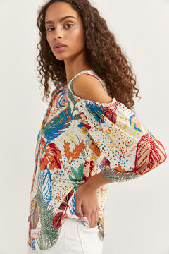 Springfield Printed cold shoulder shirt ecru