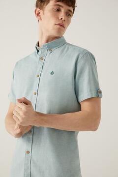 Springfield Coloured dobby short-sleeved shirt green
