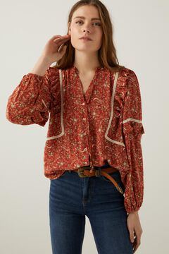 Springfield Printed flounced blouse brown