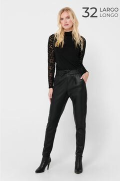 Springfield Faux leather drawstring trousers noir