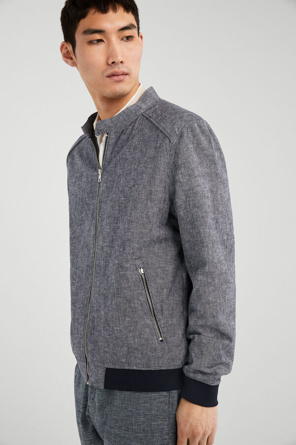 a83c42936d Springfield Linen and cotton contrast bomber jacket blue