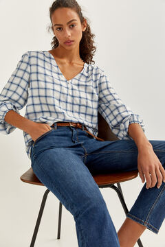 Springfield Checked Blouse indigo blue