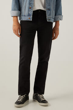 Springfield Slim fit washed 5-pocket trousers black