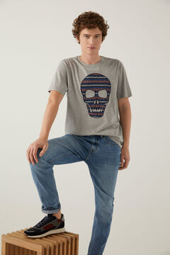 Springfield All-over ethnic print t-shirt gray