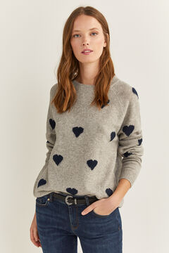Springfield Intarsia Hearts Jumper gray