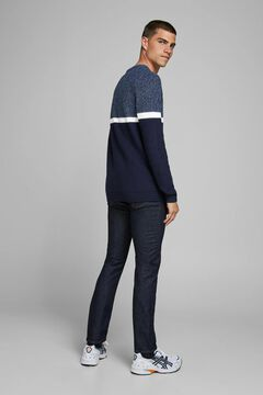 Springfield Sustainable colour block jumper navy