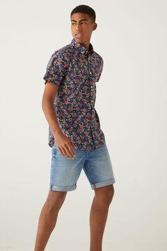 Springfield Italian printed short-sleeved shirt navy mix