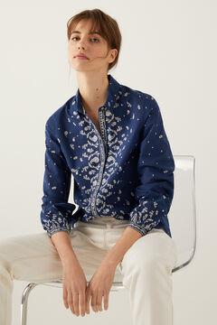 Springfield Print Detail Shirt indigo blue