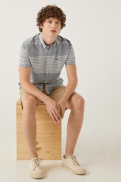 Springfield Horizontal striped short-sleeved linen shirt bluish