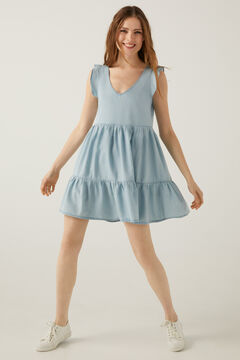 Springfield Tencel cotton denim dress steel blue