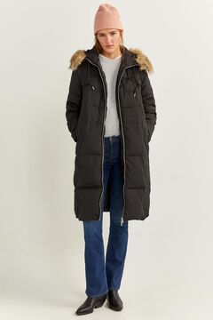 Springfield Long Feather Coat with Fur Hood black