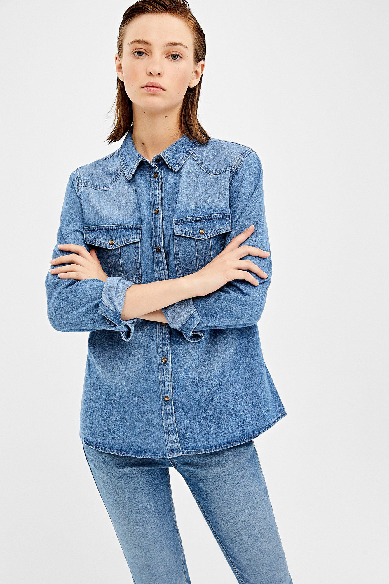Springfield Camisa denim azul acero FM