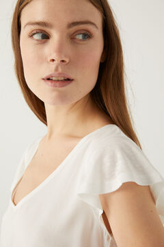 Springfield Flounced sleeve two-material t-shirt ecru