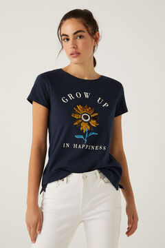 Springfield Organic cotton sequin graphic T-shirt blue mix
