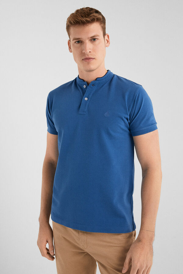25784ac30d Springfield Slim plain Mao polo indigo blue