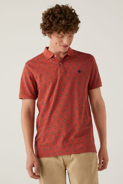 Springfield Slim fit polo shirt with all-over print terracotta