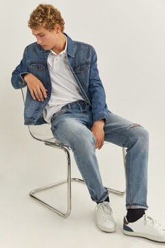 Springfield Jeans slim lavés moyen-clair déchirures blau