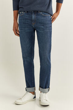 Springfield DARK WASH BI-STRETCH SLIM FIT JEANS blue