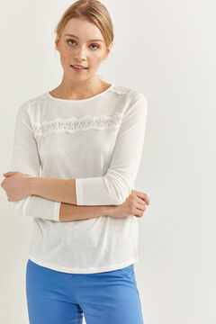 Springfield Lace Trim T-shirt natural