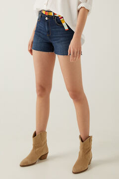 Springfield Multicoloured denim shorts with belt blue