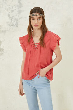 Springfield Lace-up neckline t-shirt bordeaux