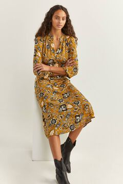 Springfield Floral Print Midi Dress yellow