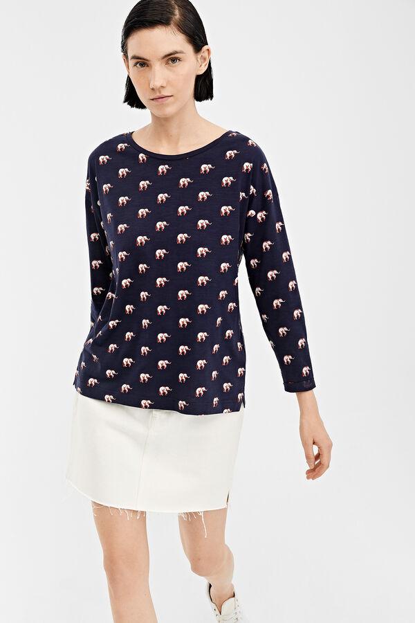 734d5c063f Springfield Camiseta manga larga estampada azul royal. Comprar