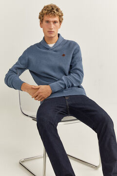 Springfield HIGH NECK MOTTLED JUMPER steel blue