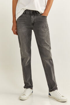 Springfield GREY DARK WASH SLIM FIT JEANS grey