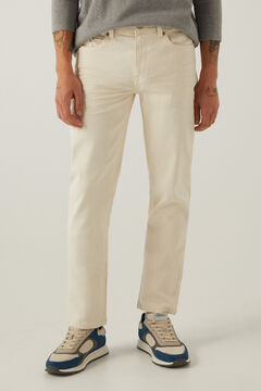 Springfield Slim fit washed 5-pocket trousers natural
