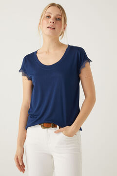 Springfield Lace sleeves T-shirt blue mix
