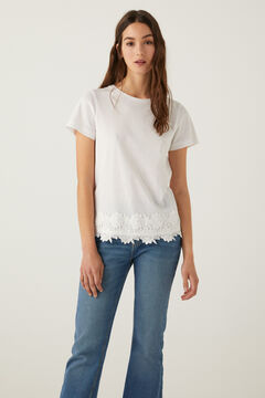 Springfield T-shirt broderie suisse ourlet blanc