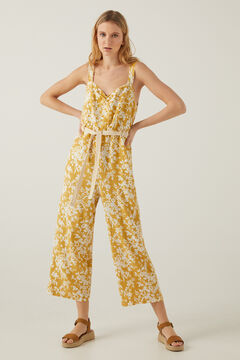 Springfield Printed linen jumpsuit yellow