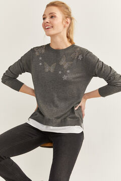 Springfield Two-Material Butterflies Jumper grey