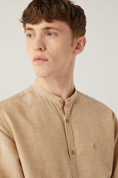 Springfield Linen mandarin shirt camel