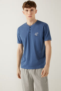 Springfield Embroidered jersey-knit short pyjamas blue
