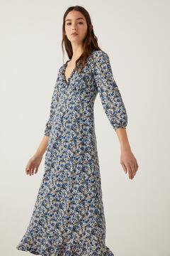 Springfield Floral midi dress indigo blue